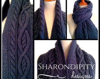 Cable Knit Scarf | Denim Blue | Traditional Irish Cable Knit |Winter Wrap | Womens Accessory | Vegan Knits