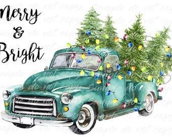 Merry Bright Blue Vintage Truck Christmas Tree Heat Press Transfer DIY Iron On