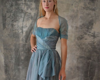 1950s Iridescent  Blue Party Dress