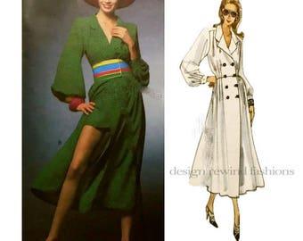 VOGUE 1127 DRESS PATTERN Double Breasted CoatDress Mini Shorts Emanuel Ungaro Paris Original UNCuT Rare Womens Sewing Patterns Size 12 14 16