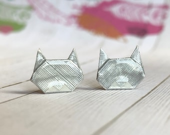 Traditional Origami Cat Earrings // Shiny Silver