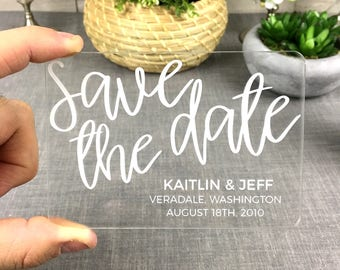 Clear Acrylic Save-the-Date - Simple and Elegant Laser-Engraved