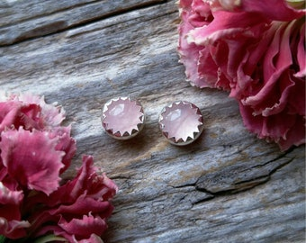 Rose Quartz Stud Earrings 5mm Sterling Silver Pink Stone Gemstone 925 Jewelry LunaMesaCo