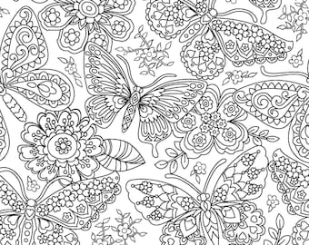 White Color Me Papillon Paisley by Michael Miller fabrics textiles butterfly black and white modern quilting fabric