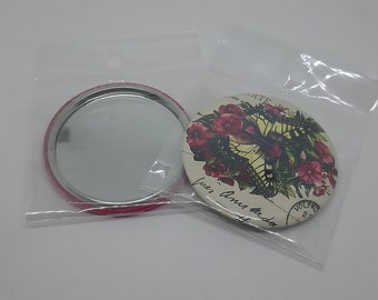 Flower & Butterfly Vintage 56 mm Pocket mirror