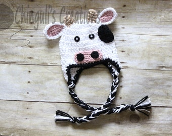 Baby Cow Crochet Hat Newborn Cow Hat Kids Cow Hat Halloween Costume Baby Photo Props