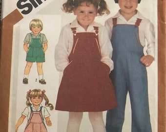 Vintage Simplicity 6228 Boys and Girls Sundress, Jumper and Overalls Pattern Size 2 Cut and Complete
