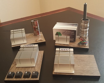 Business Card Holder - Business Card, Pen Holder - Functional Desk Art made from recycled computer parts - Nerd - Geek - Father's Day