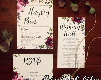 Digital wedding invitation pack Masala Rose, Pink & Navy Invitation, RSVP, Wishing Well, personalised and downloadable within 48 hours