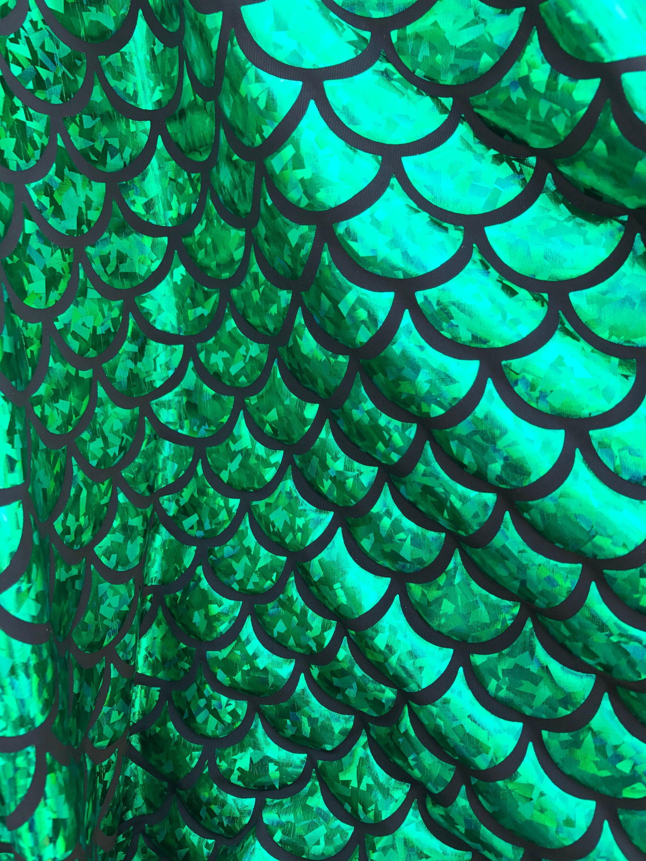 Escamas de pescado de sirena verde Jumbo papel holograma en