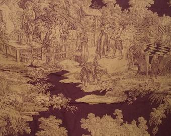 Quilter's Toile / Nancy J. Martin / Clothworks / Burgundy and Sepia Print / Colonial Scenes / Historic Scenes