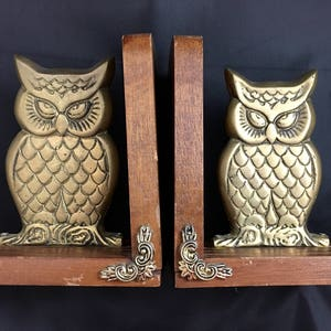 owl office decor. vintage brass owl bookends with wooden base retro room decor mid century library office p