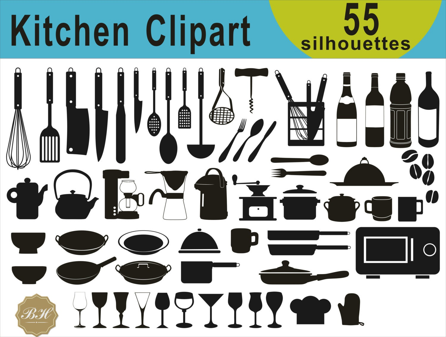 Kitchen Clipart, Cooking Clipart, Kitchen silhouette Clipart ...