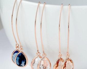 SHIPS TOMORROW Drop Earrings Bridesmaid Earrings Rose Gold Bridesmaid Gift Rose Gold Jewelry Set Bridal Earrings Bridesmaids Dangle Earrings