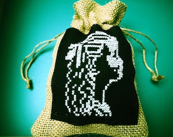 Embroidered burlap bag