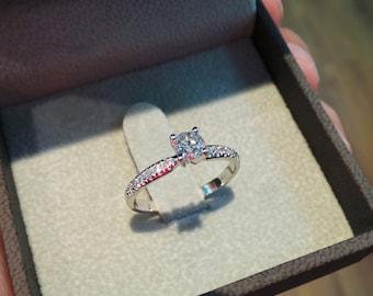 Free Shipping Diamond Engagement Ring, 0.5 Carat Diamond Ring, 14k White Gold Ring, Engagement Gift, Diamond Gold Ring, Engagement Accessory