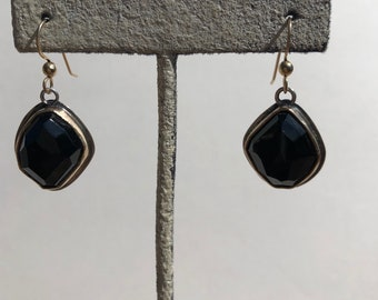 Edgy Black Obsidian Earrings- mixed metals jewelry, mixed metals, black obsidian earrings, black stone jewelry, black obsidian cabochon