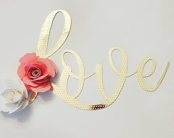Gold 'Love' cake topper, engagement cake topper, wedding cake topper, custom cake topper, personalized cake topper, paper flower cake topper
