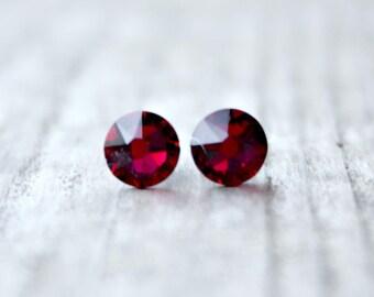 Titanium Earrings, Ruby Red Swarovski Crystal, Hypoallergenic
