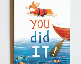 Corgi Graduation Card, You Did It, Congrats Card, Corgi Flop