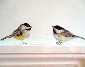 Chickadee wall decals, bird wall stickers, spring home decor, bird decor, chickadee gift, bird decals, kitchen decor, woodland wall decals