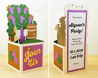 Pop Up Winery Invitation, Pop Up Party Invitation, Pop Up Vineyard Invitation, Wine Grapes Card, Custom 3D Box Card, Personalized, CardBloom