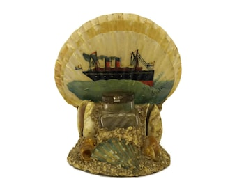 Antique French Seashell Inkwell. Steamboat Painting Souvenir. Desk Organizer Sea Shell Art. French Nautical Decor.