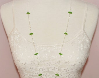 Sea Glass Jewelry Beach 30 Inch Eternity Necklace in Lime Green 4141