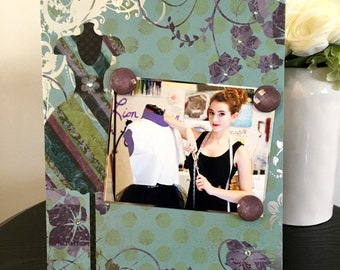 """Fashion Designer Seamstress mothers day grandmother mom teen gift handmade magnetic picture frame holds 5"""" x 7"""" photo 9"""" x 11"""" size"""