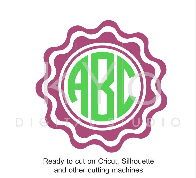 Scalloped Circle Monogram Frame SVG files for Cricut Explore ...