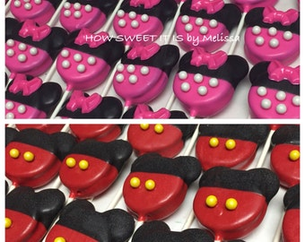 Minnie Mouse/Mickey Mouse Chocolate Covered Double Stuffed Oreo Pops(1 dozen) - Minnie Mouse, Birthday, Baby Shoer