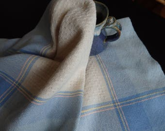 Handwoven Organic Cotton Kitchen Towel in Cream, Blues, Yellow and Pink