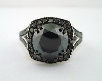 Platinum Fancy Black Diamond Engagement Ring 4.30 Carat Vintage Style Pave Halo Handmade Certified