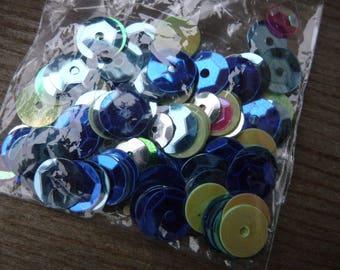Set of dyed blue-green-Fuchsia glitter