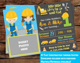 INDIVIDUAL Birthday party invitations, A7, Envelopes included,customized, Construction worker Birthday theme,Builder theme, Twins party