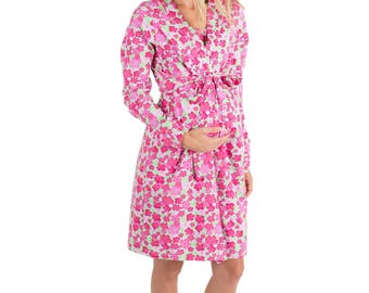 Brooke Pink Floral Maternity Delivery Labor Nursing Robe By Baby Be Mine-Hospital Bag Must Have,Birthing Hospital Gown, Baby Shower Gift