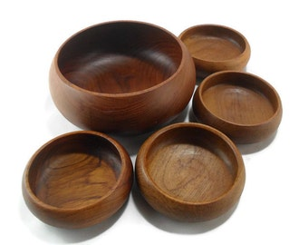MidCentury Modern Salad Bowl Set * Thailand Teak Wood
