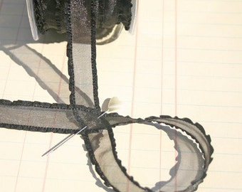 "Sheer Ruffled Black Lace Trim - May Arts Ribbons - 5/8"" Wide - 26 Yards - LAST OF SPOOL - Sale"