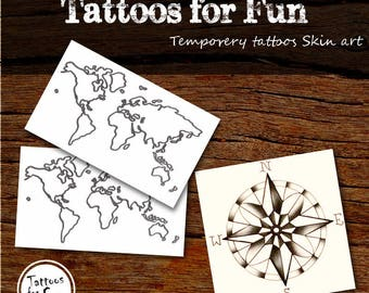 Travel Temporary Tattoos- Compass And Maps Fake Tattoos- Body Art Stick On tatts