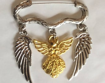 Guardian angel gold tone silver tone angel wings charm brooch/pin
