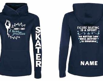 Figure Skating Ice Skater Dance Custom Sport Fleece Hoodie Glitter Name