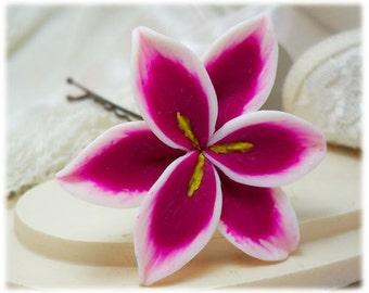Stargazer Lily Hair Clip Pin -  Pink Lily Hair Flower, Stargazer Lily Bridal Hair Pin