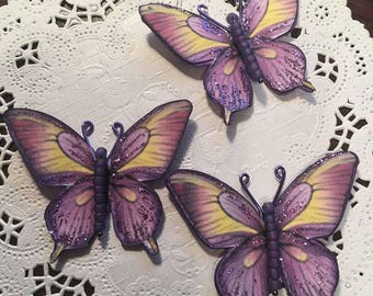 Purple Fire Purple Glass Bodied Butterflies DarlingArtByValeri Set for Scrapbooking Embellishment Mini Albums Cards Wedding Gifts