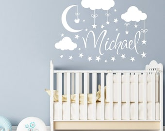 Attractive Name Wall Decal Boy Clouds Nursery Decals Moon Decal Stars Wall Vinyl  Sticker. Name For Sonu0027s Nursery Wall Decor. Baby Name Wall Decal F68