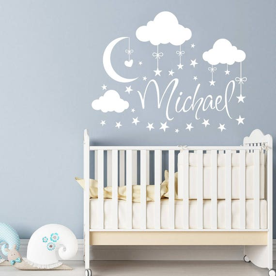 Name Wall Decal Boy Clouds Nursery Decals Moon Decal Stars - Nursery wall decals clouds