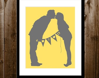Custom Couple Silhouette, Bride and Groom Silhouette, Wedding Silhouette Portrait from your Photo, Wedding Gift, Custom Silhouette