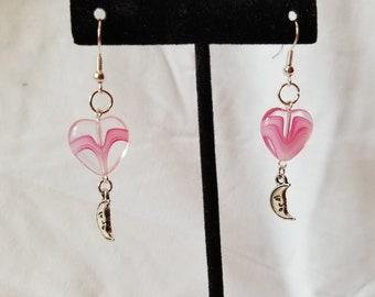 Heart and Moon earrings