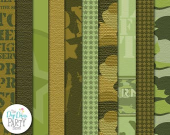 Army Camouflage Digital Scrapbooking Paper Pack, Buy 2 Get 1 FREE. Instant Download