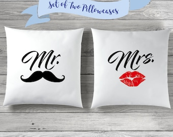 Mr. Mrs. Pillow Covers, Wedding Gift, Mr. and Mrs. Pillow Covers, Bridal Shower Gift