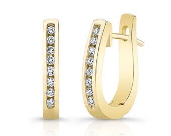 Barkevs, Yellow Gold & Diamond Hoop Earrings, Gold Earrings, Diamond Earrings, Earrings, Hoop Earrings, Diamond Huggie Earrings, M2000EY